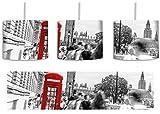 Typische Telefonzelle in London B&W Detail inkl. Lampenfassung E27, Lampe mit Motivdruck, tolle Deckenlampe, Hängelampe, Pendelleuchte - Durchmesser 30cm - Dekoration mit Licht ideal für Wohnzimmer, Kinderzimmer, Schlafzimmer
