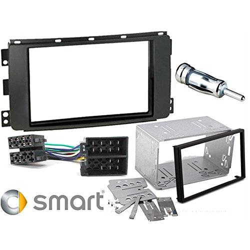 Sound Way Kit Montaggio Autoradio, Mascherina 2 DIN, Plancia Metallica, Cavo Adattatore Connettore ISO, Adattatore Antenna Compatibile con Smart 451 ForTwo 2007-2010, Smart Forfour dal 2004 al 2006