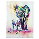 Rzyyd Malen Nach Zahlen Elefanten Familie Bilder Aquarell Gemälde Abstrakte Wandkunst Tier Leinwanddruck Kunst Poster Und Print