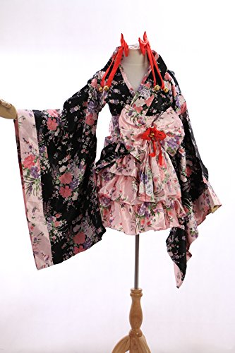 h-530 Japan Kimono schwarz black Blumen Cosplay Kostüm Set costumeKawaii-Story (Japan Size...