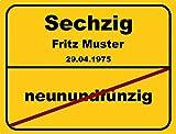Ortsschild aus Aluminium in DIN A5, A4 und DIN A3 Geburtstag Deko Geschenk Verkehrsschild - Vers.2, Schildausführung:60 Jahre;Größe:A3 - 420 x 297