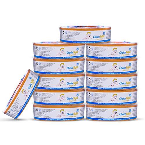ChoiceRefill Ricariche per Pannolinoper Mangiapannolino Anti-odore Ricariche Compatibile con FoppapedrettiMaialino,Angelcare Comfort plus,Classic,PAIL, STEP, Complete, Elite ecc. (12 Pezzi)
