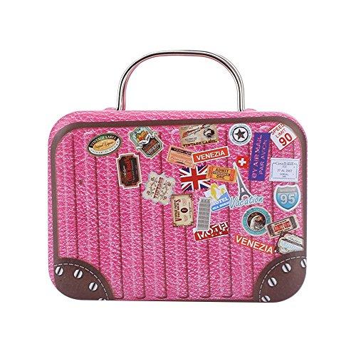 Kicode Retro Europa Mini Koffer Süßigkeiten Box Snack Weinlese-Lagerung Geschenk-Kasten Zucker, Kaffee, Tee (Personalisierte Koffer)