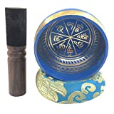 osvino 1Kit Ciotole tibetains Meditation 9.5cm bastone cuscino guerison Chakra Nepal emblema Buddha ciotola Chantant spiritualité 7metaux regalo decorazione musica silenzioso musicothérapie Yoga 9.5x5.8cm ( D x H) blu