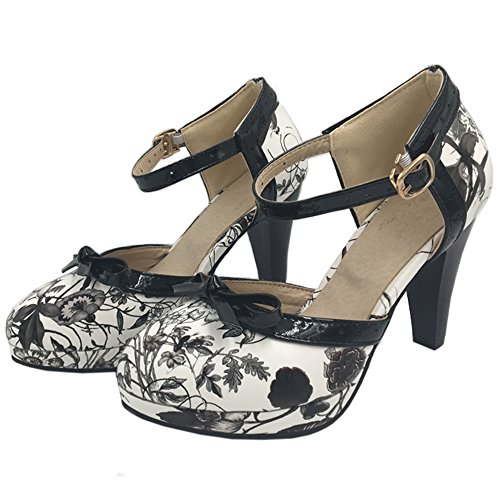 COOLCEPT Damen D Orsay Sandalen Hohe Schuhe Size 0-11 8 Colors Black Flower