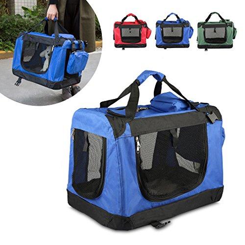 Faltbare Hundebox 49x35x35cm Haustier Transportbox Klappbare Hundebox Autobox inkl. Gepolstert und Gerüst aus Metall -- Blau