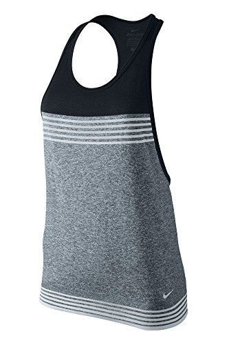 NIKE Damen Tanktop Dri-Fit Loose, Classic Charcl/Black/Pure Platinum, L, 682895-010 (Nike-loose-training Top)