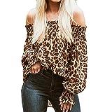 Maleya Camicia da Donna a Maniche Lunghe, con Stampa Leopardata, Senza Spalline Marrone S