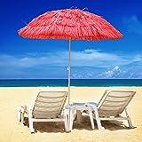 Greenbay Hawaiian Parasol Beach Parasol Patio Garden Umbrella Sun Shade Tilting Red
