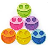 Shopkooky Multicolor Cute Big Smiley Plates With Fork And Spoon/Return Gift/Birthday Gifts Online - Pack Of 6