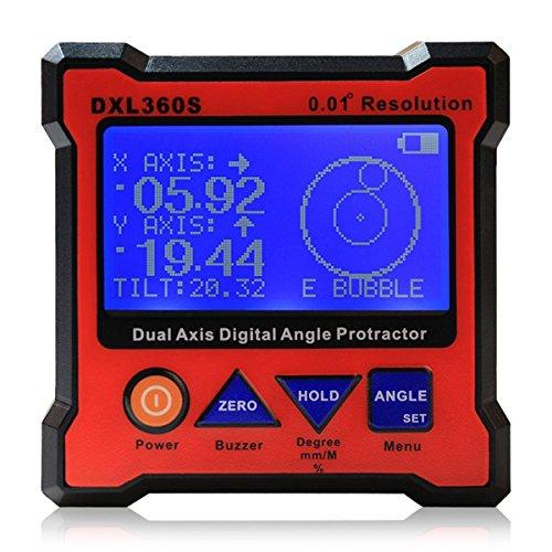 DXL360S Axis Level Box Digitale Winkellehre Winkelmesser Neigungsmesser Dual Axis Digital Winkelmesser mit 5 Seiten Magnetfuß