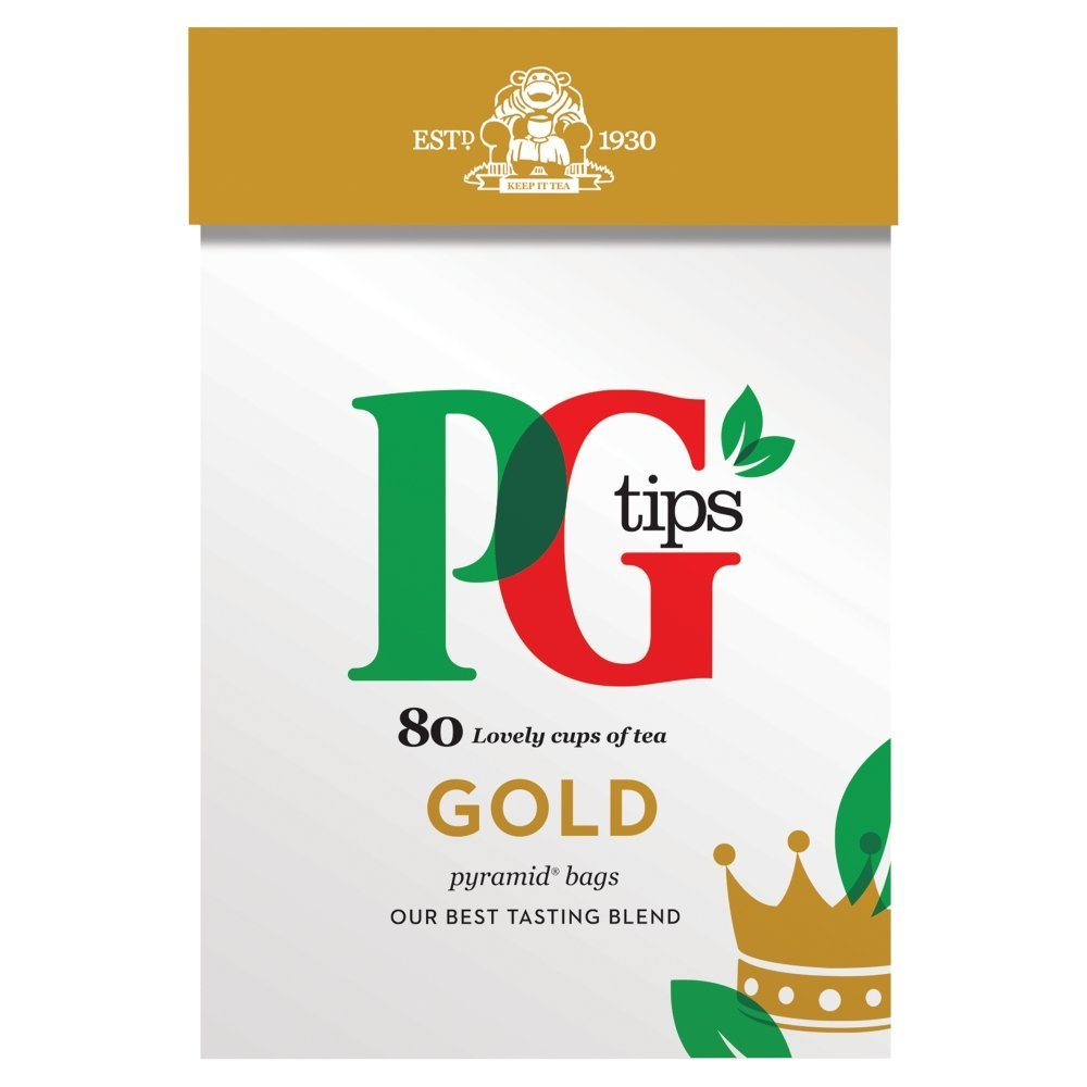 PG Tips gold tea (rainforest alliance) (black tea) (80 bags) (brews in 1 minute)