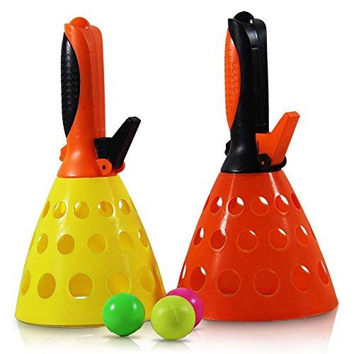 Großes Fangballspiel-Set, + Ball per Knopfdruck herausschießen und mit dem Becher auffangen+ Für das Spiel zu zweit oder allein+ 2 Fangbecher, 25 cm lang+ Robustes, leichtes Kunststoffmaterial ISH 73231319