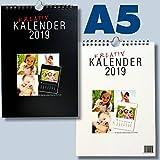 DIN A5 Bastelkalender 2019 für Fotos bis 10x15 zum selbst gestalten - Fotokalender Foto Hobbykalender Kreativ Kalender schwarz/weiss Foto-Kalender zum selber basteln