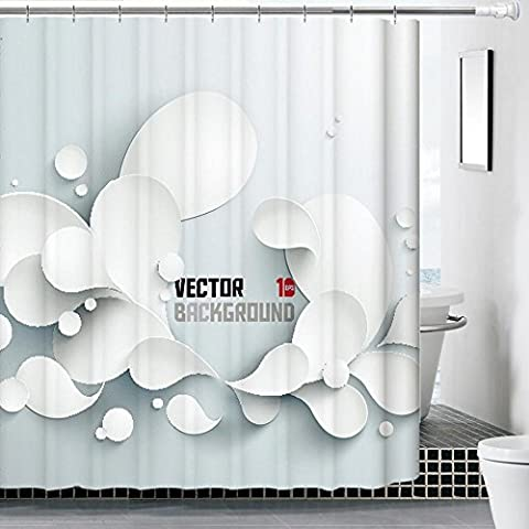 YRZT Spessore impermeabile poliestere antimuffa 3D digitale stampa tenda doccia . d . wide 180* (Cancella Ottone)