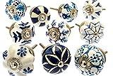 Gemischt Set mit blau & weiß Schrankknöpfe aus Keramik x 10 (MG-203) 'Vintage-Chic' TM Produkt
