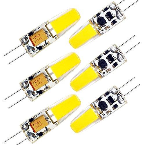 ZEEFO G4 LED Birnen 6PACK, 3000K Warmweiße Lichtfarbe 180Lumen Bi-pin Sockel G4 LED Lampen, AC/DC 12V COB 2W Sparsame LED Birne Lampe für Kronleuchter,Deckenleuchte Innenbeleuchtungen (Nicht Dimmbar)