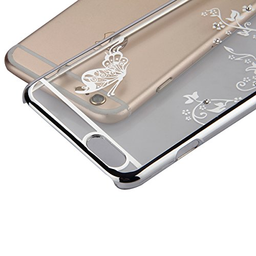 iPhone SE Hülle,iPhone 5S Case,iPhone 5 Bling Tasche - Felfy Ultra Ultra Dünn Transparent Luxus PC Plastic Kunststoff Tasche Bling Strass Schutz Schutzhülle Case Hülle Tasche Diamant Schmetterling Ele Schmetterling Silver