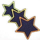 Flicklen zum aufbügeln Set Aufbügler Sterne 3 Bügelficken Jeans blau klein 7cm / mittel 8cm / groß 10cm neon Bügelbilder für Kinder und Erwachsene