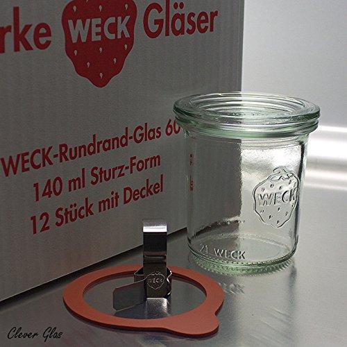12 Mini Sturz Gläser 140ml / RR60 mit Glasdeckel, Ringen und Klammern im Original Weck Karton (Mit Glasdeckel, Ringen und Klammern)