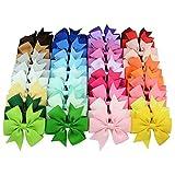 Mollette per capelli con fiocco, 7,62 cm, 40 colori disponibili (1 set = 40 pezzi)