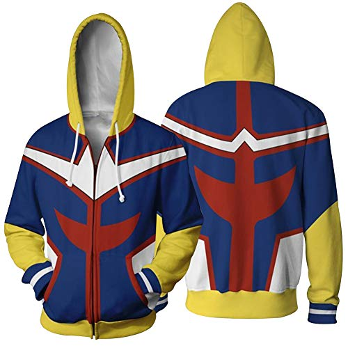Queenromen Boku No Hero Academia All Might Hoodie Jacke Sweatshirt Cosplay Kostüm Kapuzenpullover(L ()