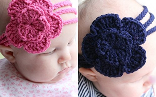 Love Crochet Art baby headband hair band for 6 to 12 months baby - combo of Pink and blue