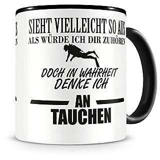 Samunshi® Ich denke an Tauchen Tasse Kaffeetasse Teetasse Kaffeepott Kaffeebecher Becher Nr.1: schwarz/schwarz H:95mm / D:82mm