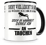 Samunshi Ich denke an Tauchen Tasse Kaffeetasse Teetasse Kaffeepott Kaffeebecher Becher Nr.1: schwarz/schwarz H:95mm / D:82mm