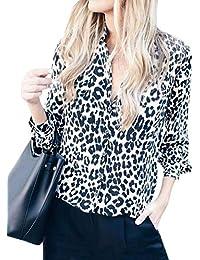 7859555d30ef2 ShallGood Chemisier Femme Sweats Manches Longues Blouse Imprimée Léopard  Tunique Col V Automne Hiver Casual Imprimé