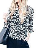 ShallGood Donna Si Leopardato Manica Lunga Pulsante Chiffon Camicia da Lavoro Top Bluse e Camicie Bianco 01 IT 38