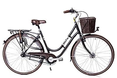 "28"" Zoll Alu Damen MIFA Fahrrad 7 Gang Shimano Nexus Nabendynamo Korb RETRO schwarz"