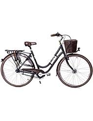 Shimano Nexus MIFA–Bicicleta de aluminio con cesta, 7 marchas, 28 pulgadas, para mujer, con dinamo de buje y cesta, estilo retro, color negro
