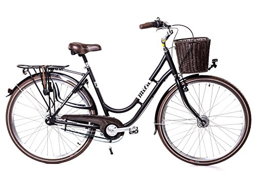 "28\"" Zoll Alu Damen MIFA Fahrrad 7 Gang Shimano Nexus Nabendynamo Korb RETRO schwarz"