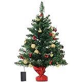 homcom Piccolo Albero di Natale Verde e Rosso Decorato con 15 Luci a LED Bianche e 16 Ornamenti fra Palline di Natale e Bacche di Agrifoglio