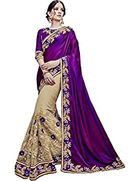 SareeShop Women's Georgette Embroidered Saree With Blouse Piece(Lakshmi-4007-SAREE01_Purple_COLOUR)