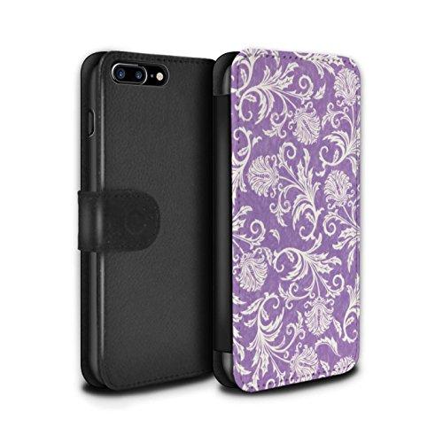 Stuff4 Coque/Etui/Housse Cuir PU Case/Cover pour Apple iPhone 8 Plus / Pack (10 modèles) Design / Fleurs Collection Fond Violet