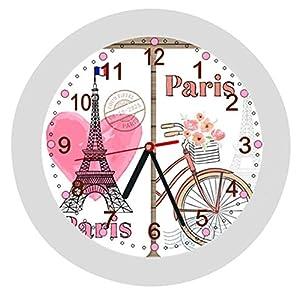 ✿ Wanduhr -KEIN TICKEN- in 4 Farben ✿ PARIS Frankreich 1 Eifelturm Land Stadt Europa Geographie ✿ mit/ohne Name