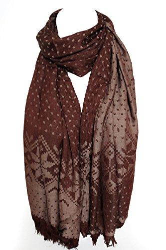 Deux faces réversibles aztèque impression Pashmina sensation chaude écharpe châle étole Wrap Brun chocolat