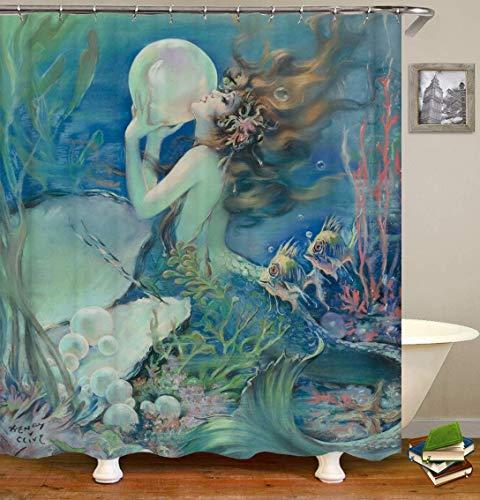 OqgsMindyzk Ölgemälde blau Unterwasserwelt Meerjungfrau gelbes Haar weiß große Perle grün rot Seetang Fisch Duschvorhang wasserdicht Trennvorhang kreative Dekoration -
