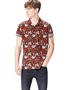 [Patrocinado]FIND Camisa de Manga Corta y Corte Estándar con Estampado Tropical para Hombre