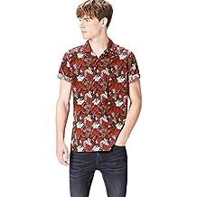 FIND Herren Hemd mit Tropenprint Kurzarm