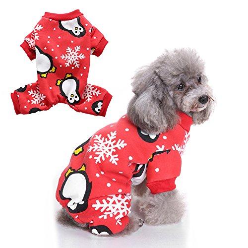Welpe Kostüm Pinguin - Steellwingsf Hund Weich Schneeflocke Weihnachts Kostüm für Welpen mit Pinguin Muster Haustier Kleidung Festival Geschenk