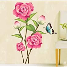 UberLyfe Valentines Day Spacial Rose Flower with Butterfly Wall Sticker Size 3 (Wall Covering Area: 80cm x 60cm) - WS-000079
