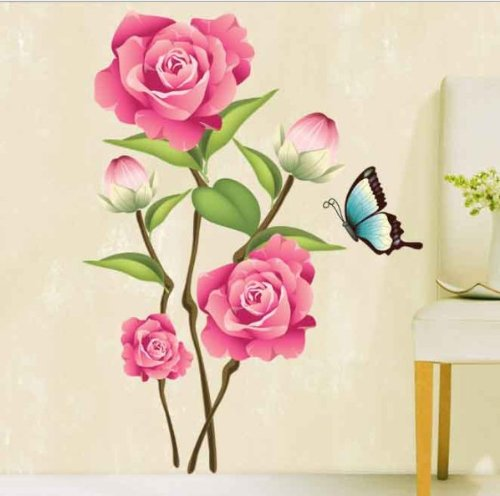 UberLyfe Rose Flower with Butterfly Wall Sticker Size 3 (Wall Covering Area: 80cm x 60cm) - WS-000079