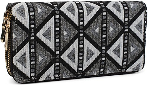 styleBREAKER Geldbörse im Ethno Look mit Azteken Muster, Boho Style, Reißverschluss, Portemonnaie, Damen 02040050, Farbe:Grau-Weiß