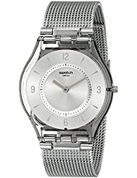 Swatch Damen-Armbanduhr XS Metal Knit Analog Quarz Edelstahl SFM118M
