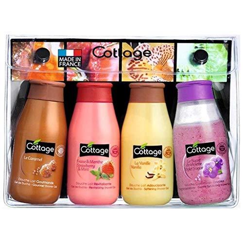 Erdbeer-peeling (Cottage Pack Cottage Trip Kit Mini Milchflaschen und Dusche Scrub Dusche 4X50Ml (Lot von 2) 1)