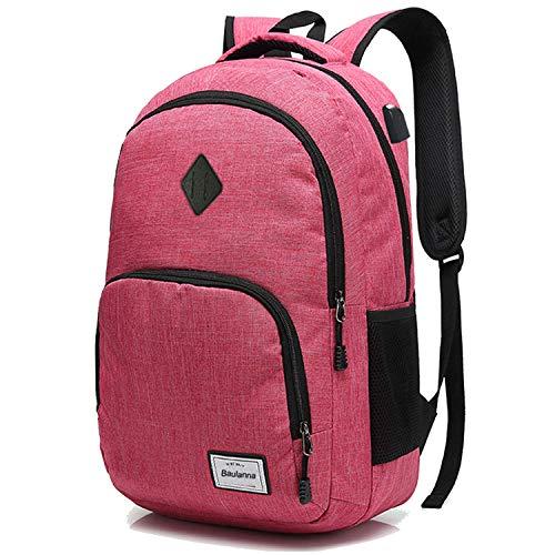 BSDZ Damen Rucksack Laptop für Frauen mädchen Schulrucksack mit USB-Ladeanschluss Oxford,Backpack,Reiserucksack,20-35L (Rosa) - Rosa Laptop-rucksäcke