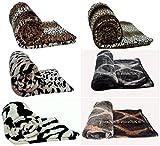 Kunstfell-Decken, warm, weich, Tiger/Leopard/Löwe/Zebra/Schlange, Größen Medium/Large/X-Large , 100 % Polyester, leopard, X-Large (200cm x 240cm)